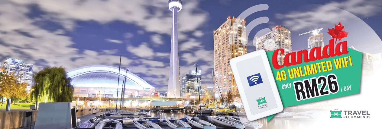 Travel Recommends Promo - Canada Unlimited WiFi Router - RM 26 Per Day